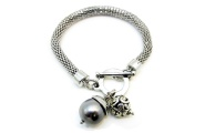 Mesh T-bar Pearl Bead Bracelet By Hint of New Zealand