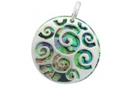Sterling Silver Koru with Paua Shell Underlay Pendant