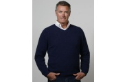 Men's Fine Stripe V Sweater Jumper- Possumdown- Denim & Black