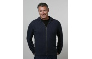 Men's Rib Zip Cardigan- Denim Blue